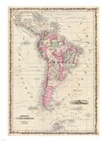 1862 Johnson Map of South America Framed Print