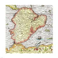 Map of South America 1575 Fine Art Print