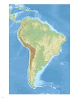 South America relief location map Fine Art Print
