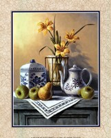 Country Tea Set with Yellow Lilies Framed Print