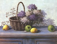 Basket of Purple Flowers Fine Art Print