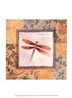 Collaged Dragonflies II Fine Art Print
