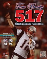 Tom Brady Most Passing Yards in New England Patriots History Overlay Fine Art Print