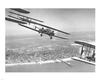 U.S. Army Air Corps Curtiss B-2 Condor bombers flying over Atlantic City - various sizes