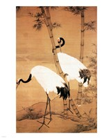 Bian Jingzhao Bamboo and Cranes Framed Print