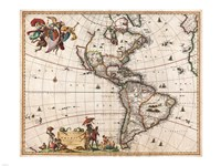 1658 Visscher Map of North America and South America, 1658 - various sizes