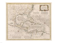 1720 Map of the West Indies, 1720 - various sizes, FulcrumGallery.com brand
