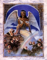 Black Angel with Rainbow Framed Print