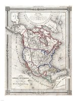 1852 Bocage Map of North America, 1852 - various sizes
