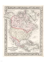 1864 Mitchell Map of North America, 1864 - various sizes