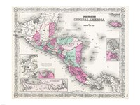 1866 Johnson Map of Central America Fine Art Print