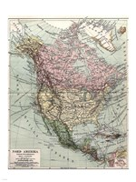 Nord-Amerika Politisk Ofversiktskarta, Nordisk familjebok - various sizes