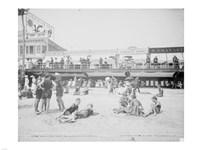 Boardwalk from the beach, Atlantic City, NJ Fine Art Print