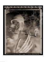 Side profile of a skeleton holding a cigarette - various sizes