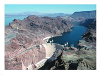 Hoover Dam aerial view Framed Print