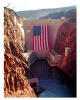 Hoover Dam with large  American flag Framed Print