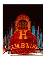 Neon gambling sign on Freemont Street in historic Las Vegas Framed Print