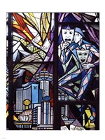 Stained glass window in the Guardian Angel Cathedral, Las Vegas, Nevada Fine Art Print