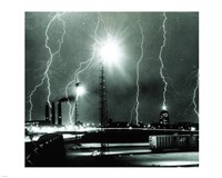 Lightning storm over Boston - 1967 Framed Print