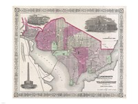 1864 Johnson Map of Washington D.C. and Georgetown Fine Art Print