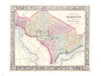 1864 Mitchell Map of Washington D.C., 1864 - various sizes