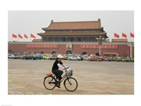 Tourist riding a bicycle at a town square, Tiananmen Gate Of Heavenly Peace, Tiananmen Square, Beijing, China Fine Art Print