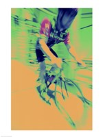 Young man riding a bicycle - yellow - various sizes