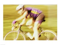 Side profile of a young man cycling - various sizes