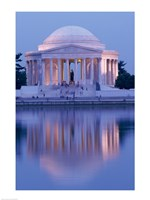 Jefferson Memorial Reflection At Dusk, Washington, D.C., USA Fine Art Print