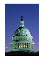 Capitol Building lit up at night, Washington D.C., USA Fine Art Print