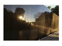Reflection on a memorial wall, Vietnam Veterans Memorial Wall, Vietnam Veterans Memorial, Washington DC, USA Framed Print