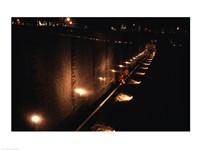 Memorial wall lit up at night, Vietnam Veterans Memorial Wall, Vietnam Veterans Memorial, Washington DC, USA Framed Print