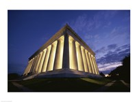 Low angle view of the Lincoln Memorial lit up at night, Washington D.C., USA Fine Art Print