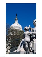 Spirit of Justice statue in front of a government building, State Capitol Building, Washington DC, USA Fine Art Print