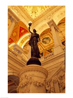 USA, Washington DC, Library of Congress interior with sculpture Fine Art Print