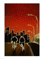 Cycling at night Fine Art Print