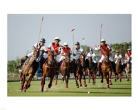 Indonesia plays against Thailand in a round robin SEA Games 2007 Thailand Polo match Fine Art Print