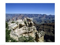 High angle view of tourists at an observation point, Grand Canyon National Park, Arizona, USA - various sizes