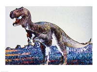 Colorful Close-up of a tyrannosaurus rex Framed Print