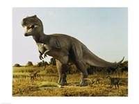 Tyrannosaur Stealing The Kill Thescelosaur From Dromeosaurs - various sizes, FulcrumGallery.com brand