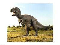 Close-up of a tyrannosaurus rex standing in a field Fine Art Print