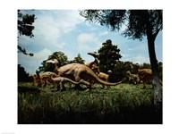 Herd of Anatosaurus - various sizes