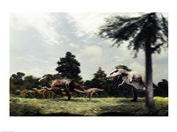 Side profile of a tyrannosaur attacking a group of anatosaurus - various sizes