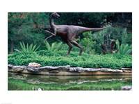 Statue of Ornithomimus Dinosaur in a park, Zilker Park, Austin, Texas, USA - various sizes
