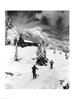Rear view of two people skiing, Washington, USA Fine Art Print