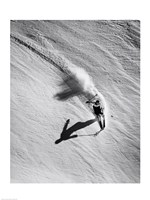 High angle view of a man skiing downhill Fine Art Print