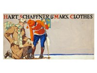 Man kneeling beside woman on skis Fine Art Print