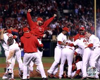 The St. Louis Cardinals Celebrate Winning World Series in Game 7 of the 2011 World Series (Team Celebration) Fine Art Print
