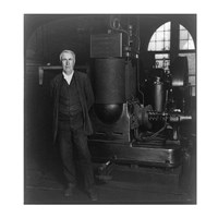 Thomas Edison and his original dynamo 1906 Fine Art Print