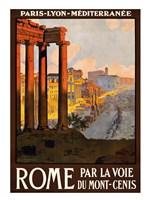 Rome par la voie du Mont-Cenis, travel poster 1920 Fine Art Print